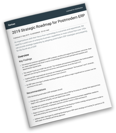 Gartner Report: 2019 Strategic Roadmap for Postmodern ERP